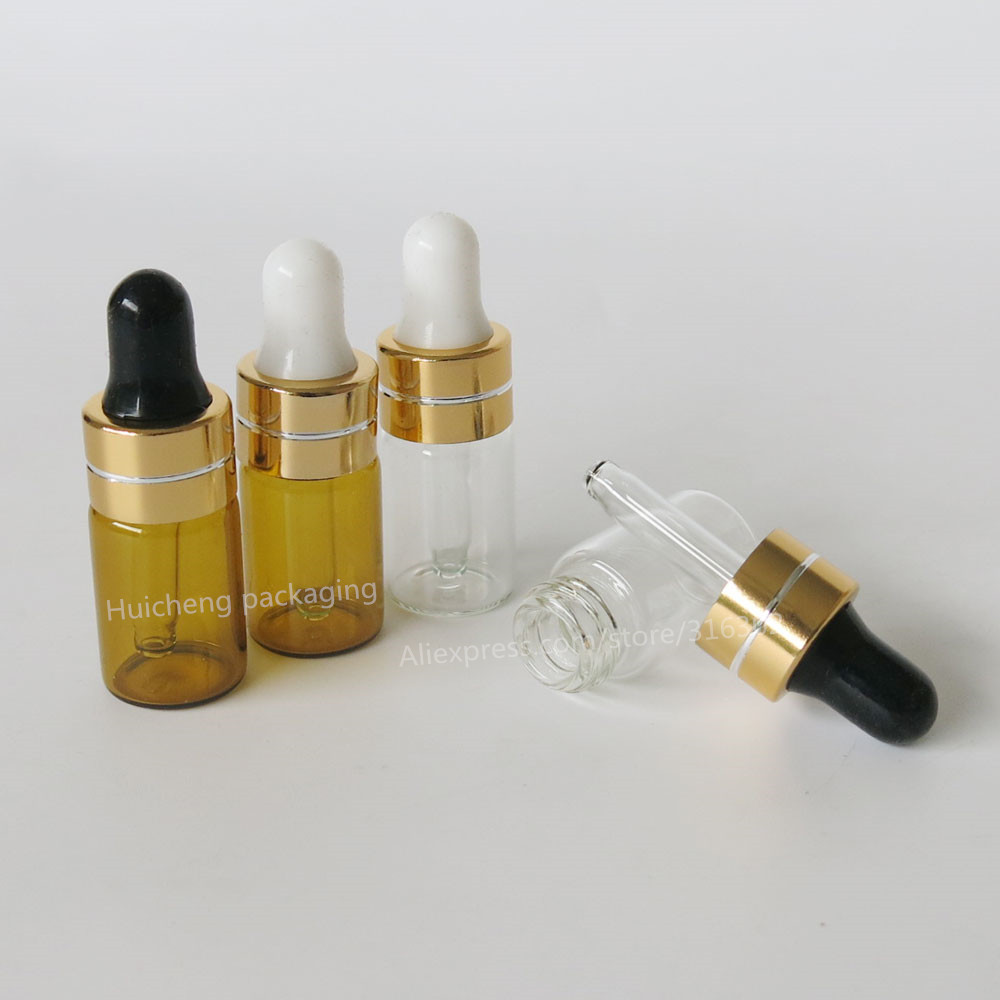 500pcs/lot Clear Amber Dropper Bottle Jars Vials With Pipette Gold Cap For Cosmetic Perfume Essential Oil Bottles(China (Mainland))