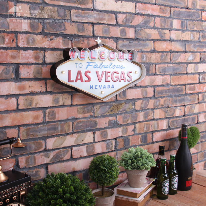 Las Vegas Decoration Metal Painting Neon Welcome Signs Led Bar Wall Decor(China (Mainland))