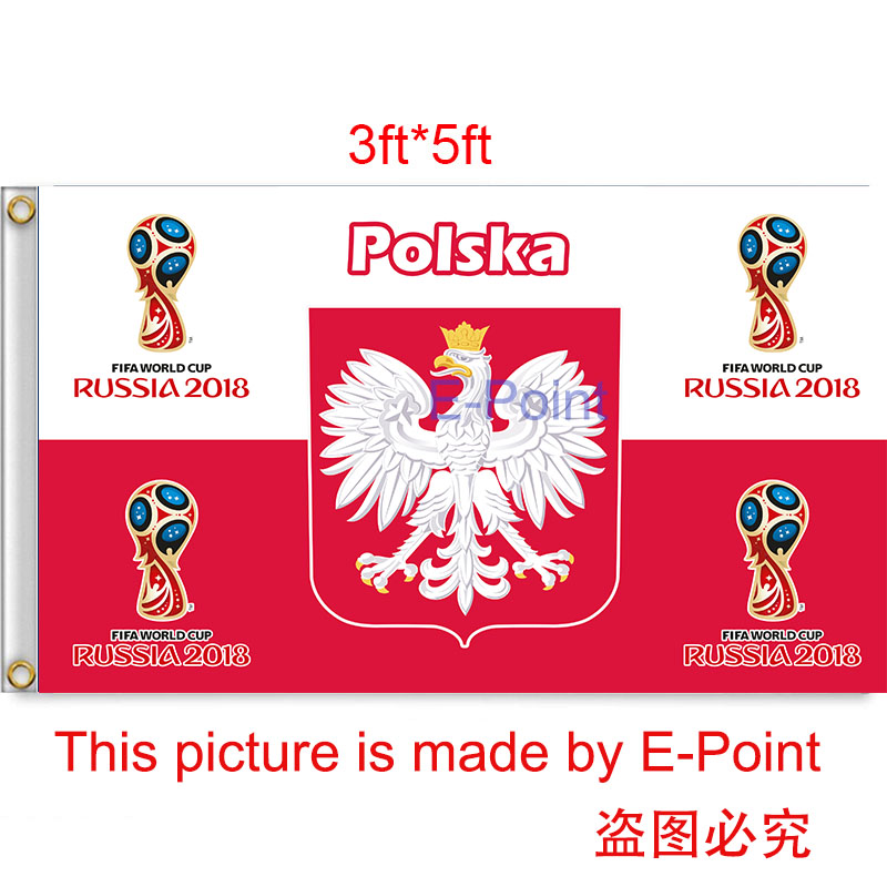 2018 Russia Football World Cup Poland National Team 3ft*5ft (90*150cm) Size Decoration Flag Banner(China (Mainland))