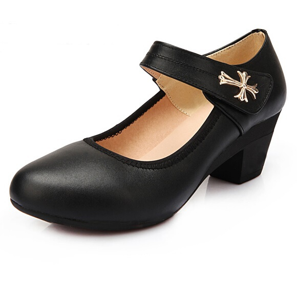 Size 34-41 women genuine leather single pumps office lady shoes platform thick heel formal shoes comfortable mother wedges shoes<br><br>Aliexpress