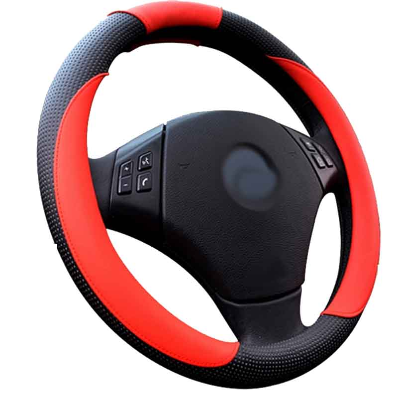 Free shipping 1pcs Red Orange Brown White PU Leather Cowhide Car Steering Wheel Cover With Needles and Thread 4 Color(China (Mainland))