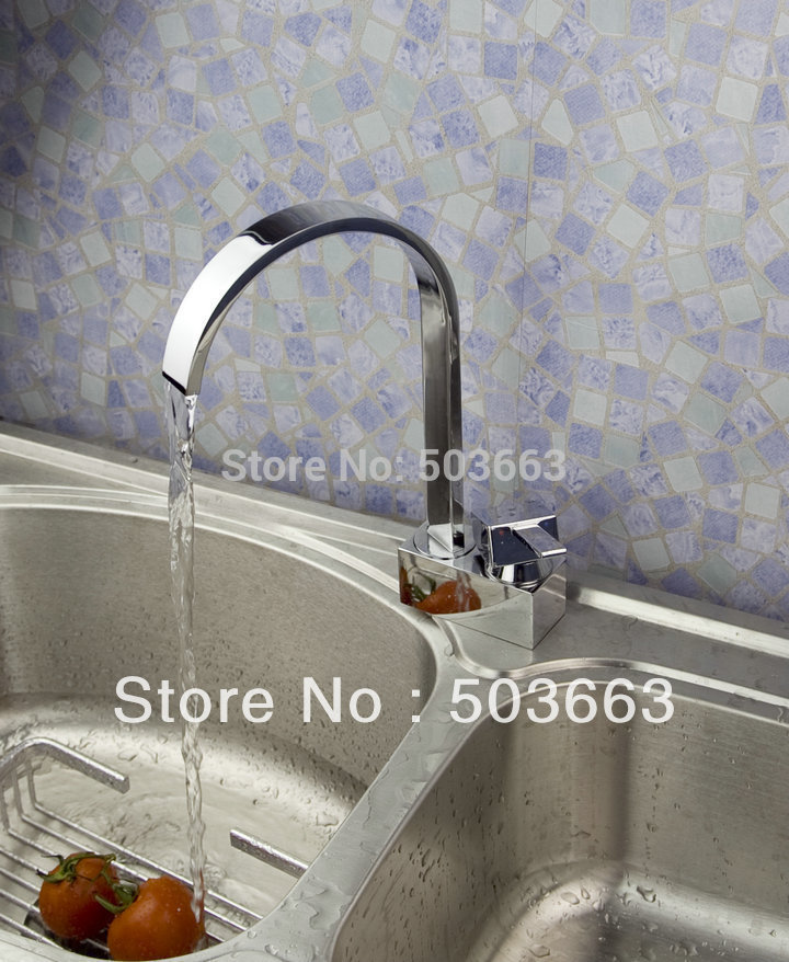 Wholesale New Design 1 Handle Surface Mount Kitchen Swivel Sink Faucet Brass Vanity Mixer Tap L-1055(China (Mainland))