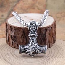 Dropshipping 1 sztuk młot thora mjolnir naszyjnik viking scandinavian norse viking naszyjnik ze stali nierdzewnej stalowy łańcuch(China)