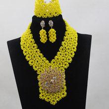 רומנטי סגול/צהובים אפריקאים תכשיטי חתונה ניגרית משלוח חינם תכשיטי שרשרת כלה סט תכשיטי סט קריסטל חרוז ANJ040(China)