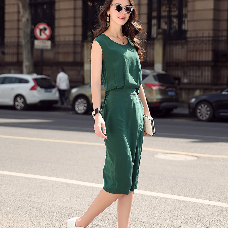 Real Silk Summer Dress Women 2016 O-Neck Buttons Solid Blue/Green Short Sleeve Lady Dress Brief Slim Trendy Plus Size Dress(China (Mainland))