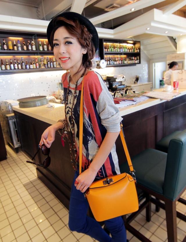 2014 spring bags candy color fashion small bag orange messenger bag women's handbag(China (Mainland))