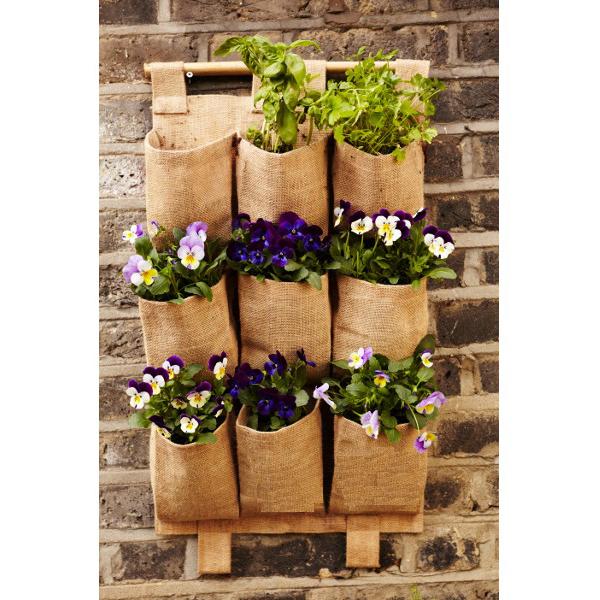 9 Pockets Folding Hanging Bag Vertical Garden Planter Bonsai Jute Storage Bag Garden Pot Flower Organizer(China (Mainland))