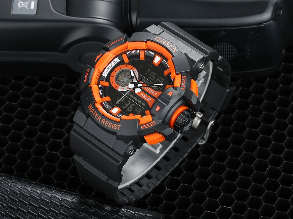 OHSEN Multifunctional Waterproof Men's Sports Watches Quartz LED Digital Analog Dual Time Casual Outdoor Military Wrist Watch