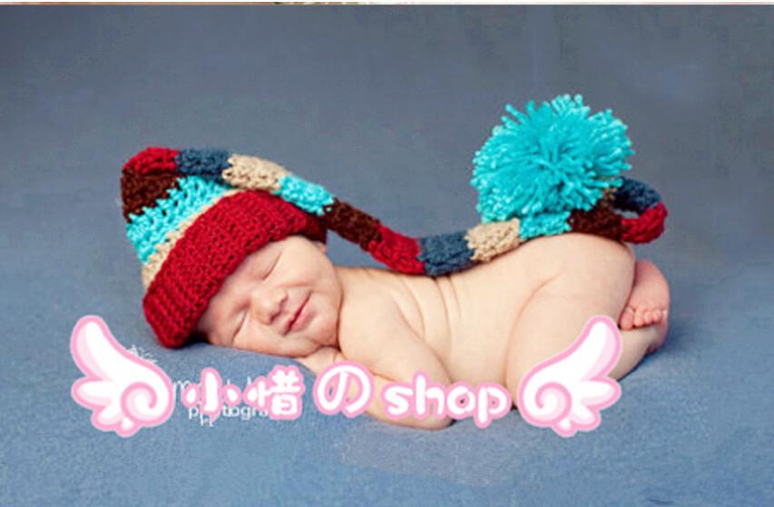 Newborn Hat Baby Pixie Elf Knitted Christmas Beanies Handmade Crochet Photography Props Baby Hat(China (Mainland))
