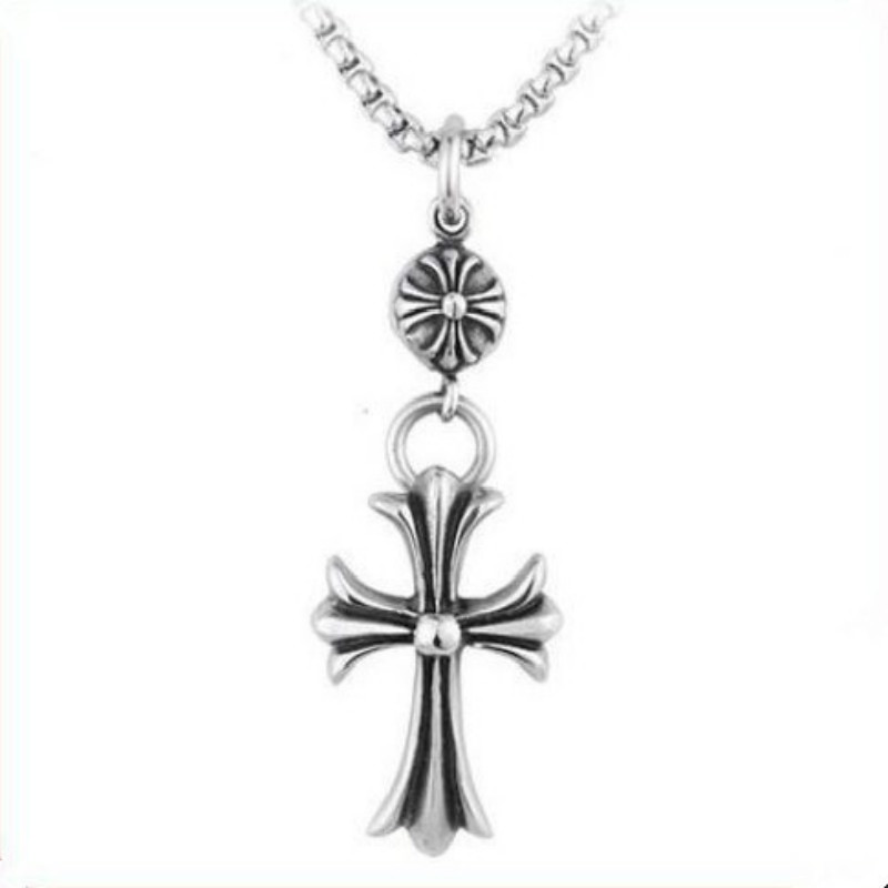 Black friday cross of Jesus high imitation stainless steel pendant silver chain male style necklace 925 sterling silver jewelry(China (Mainland))