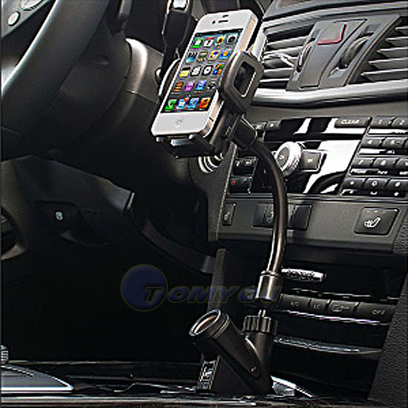 Dual USB 2-Port Car Charger Cell Phone Mount Holder for iPod GPS iPhone 4S 5S 6G Mobile Mount Car Stand Phone Holder Phone(China (Mainland))