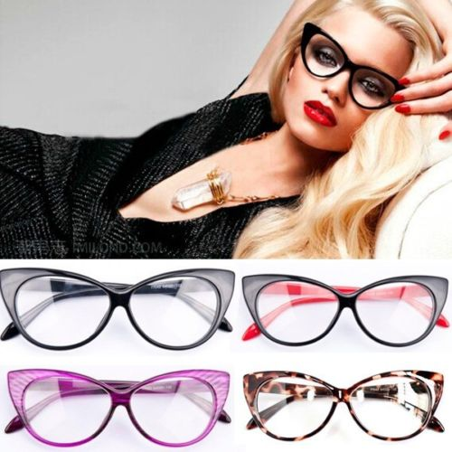 1 PC Women Lady Girls Retro Cat's Eye Glasses Frame Fashion Eye Glasses Clear Lens Spectacles Decoration