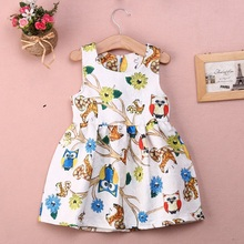 Girl Summer Dress 2016 Lovely Princess Baby Girls Owls Flower Party Ball Gown Formal Fancy Dresses 2-7Y