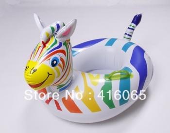 Free Shipping Rainbow Zebra boat inflatable Children Swimming Life Ring 55*70CM  Life buoy Wolesale PVC  Lovely Saving Ring