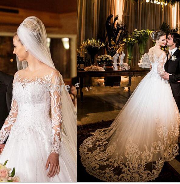 2015 Ball Gown Sweetheart Wedding Dresses Illusion Long Sleeve Sheer Back Floor Length Lace Vestidos De Novias - Ice-Beauty145 store