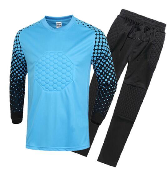 Hot Sale Breathable Quick Dry Boys Soccer Training Suit Kids Goalkeeper Jersey Set Long Sleeve Goalkeeper Shirts Pants Uniforms(China (Mainland))