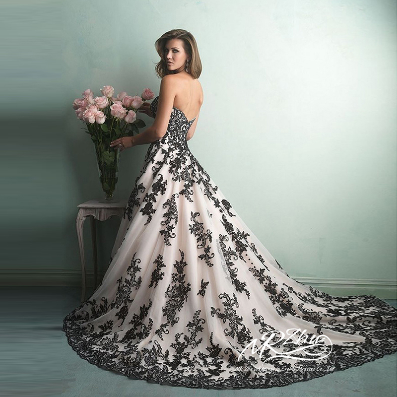 White Wedding Gown Black Lace 44