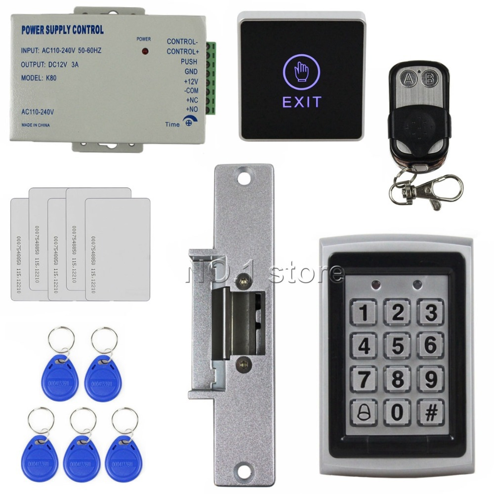 Remote Control 125KHz RFID Metal Keypad Door Access Control Security System Kit + Electric Strike Lock + Touch Button 7612<br><br>Aliexpress