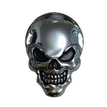 8x5.5cm Silver 3D 3M Skull Metal Auto Motorcycle Sticker Emblem Badge car styling For Ford Chevrolet Honda Hyundai Kia Focus VW(China (Mainland))