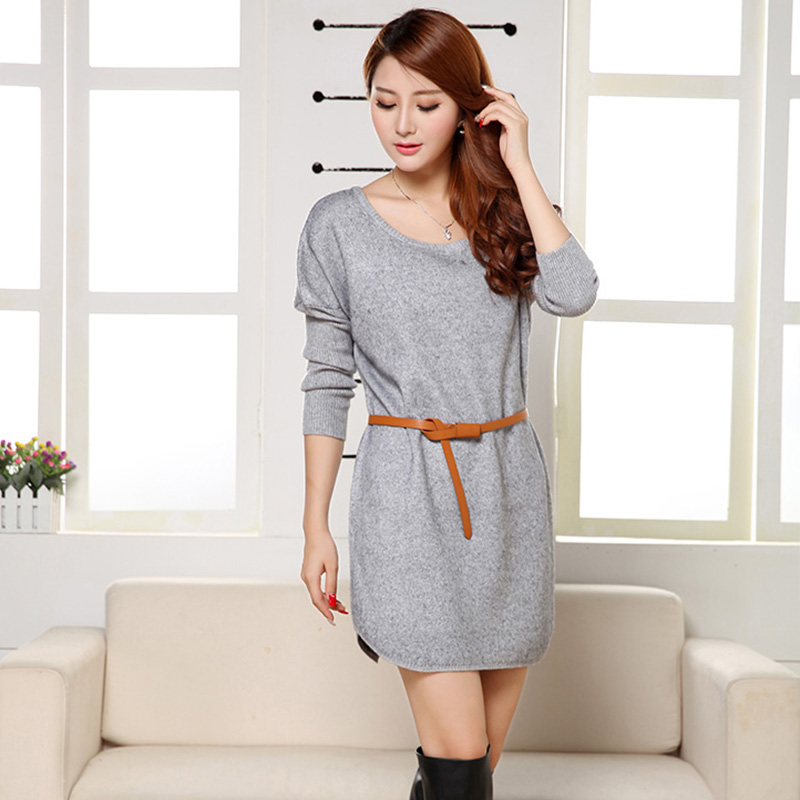 Women Sweater Dresses Fall Winter Fashion Free Size Knee-length Belt Knitted Dress Decoration Thick Loose Woman Dress151127(China (Mainland))