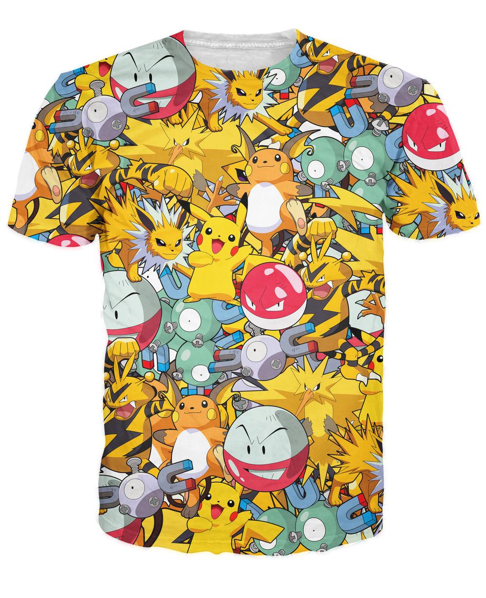 Zapados Pokeball pokemon characters t shir women men Original Electric Pokemon Collage T-Shirt Plus Size S-3XL(China (Mainland))