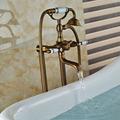 Dual Handles Bathroom Floor Mount Freestanding Bathtub Filler Bath Tub Faucet Antique Brass Finish