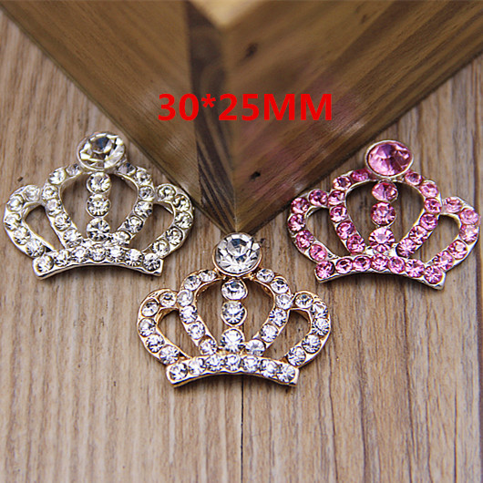 New Arrival 20PCS Silver Gold Pink Rhinestone Crystal Princess Royal Crown Button Patchs Fit for Girls Hair Jewelry Bow Center <br><br>Aliexpress