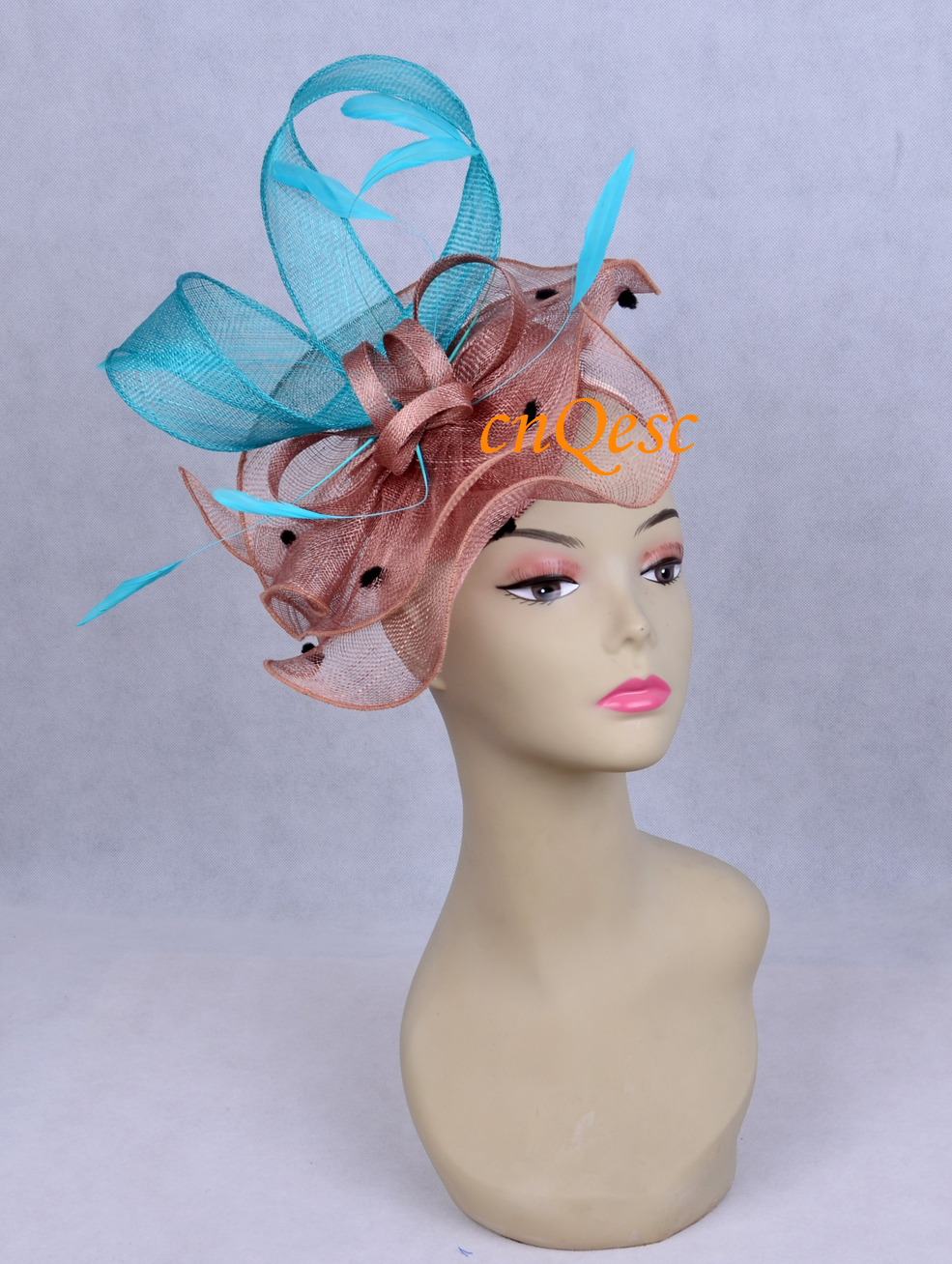 Latte brown turquoise blue sinamay feather fascinator for kentucky derby party tea.(China (Mainland))