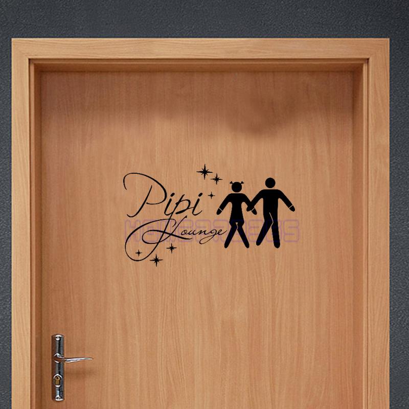 Porte des toilettes signe promotion achetez des porte des for Autocollant mural francais