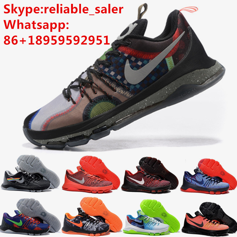 2016 Hot Sale Cheap Mens Kd 8 VIII Black Red Pink White Eur 40-46 Us 7 8 8.5 9.5 10 11 12 For Sale Online(China (Mainland))