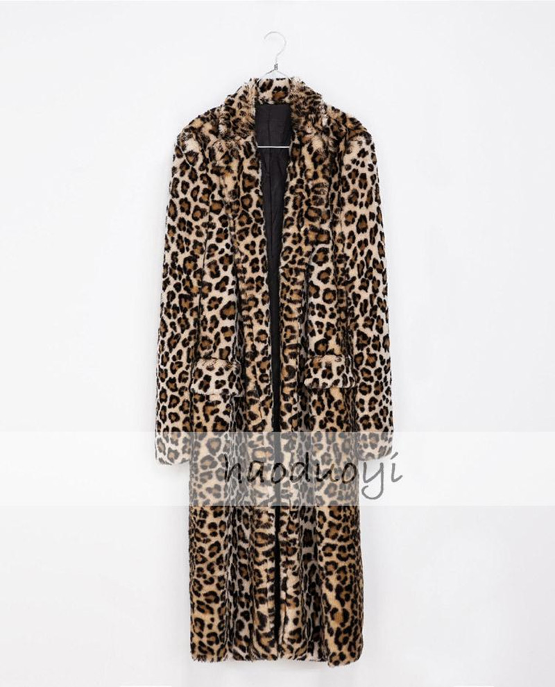 2015 New Fund Sell Like Hot Cakes Leopard Fur Coat Double Pockets Long Sleeves Long Female Coat Free Shipping(China (Mainland))