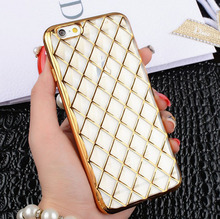 Luxury Crystal Plating Electroplating TPU Soft Silicon Diamond grid Phone Case For iPhone 5 5s 6 6s 6Plus 6sPlus Cover bag Capa(China (Mainland))
