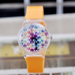 2014 new fashion Spring beautiful colored dots transparent plastic watches ladies watch quartz watch casual women dress watch(China (Mainland))