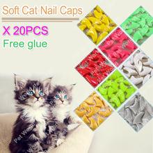 20 pcs/sac Doux Chat Nail Caps/Chat Nail Couverture/Patte caps/Pet Nail Protecteur avec livraison Adhésif Colle Taille XS S M L(China (Mainland))