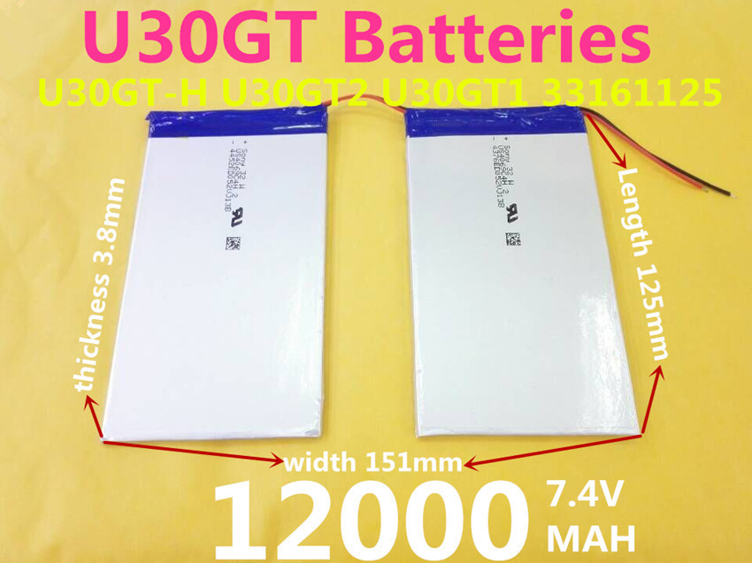 7.4V 12000mAh Tablets Batteries DIY Cube U30GT, U30GT1, U30GT2 dual four-core tablet pc battery 33161125 Size:3.8*151*125 mm(China (Mainland))