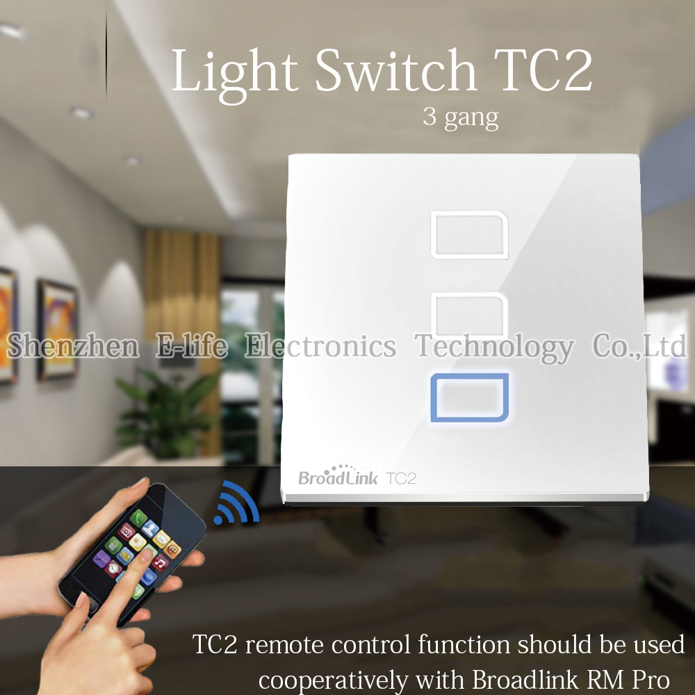 Uk Standardsmart Home Automationbroadlink Tc2 3 Gang Touch Switch Light Broadlink Wireless Remote Control Wifi Wall Screen 433mhz 100v