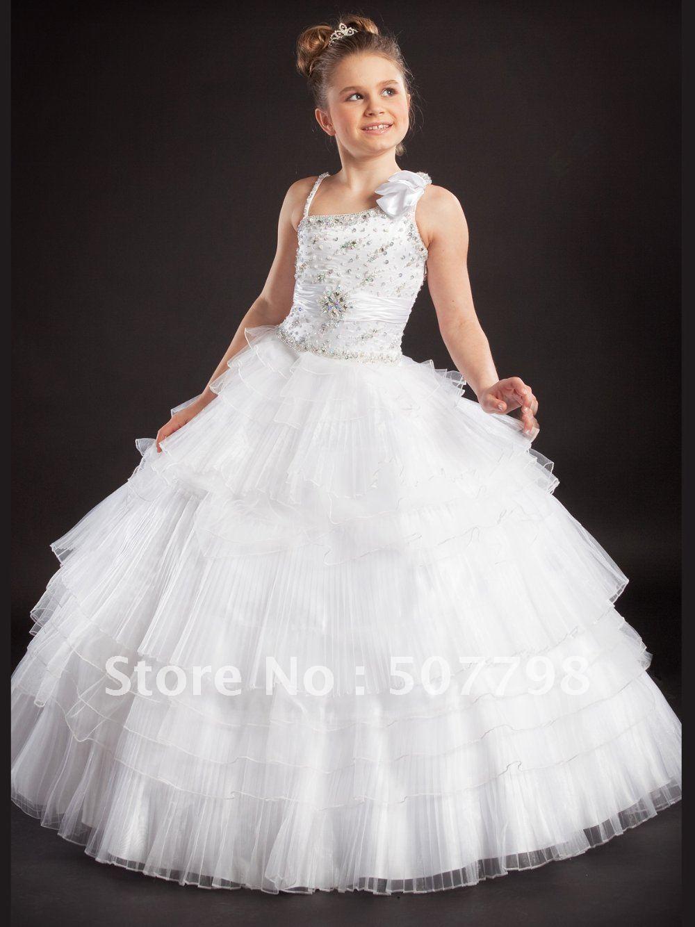 Layered tulles wedding flower girl pageant dress 2 14 for Kids dresses for wedding