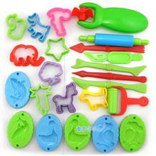 23 Pieces Color Play Dough Model Tool Toys Creative 3D Plasticine Tools Playdough Set,model building kits toy(China (Mainland))