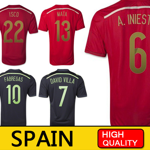 Spain Jersey 2014 World Cup PIQUE XAVI Spain Soccer Jersey Home Red Away Black Football Shirts ALONSO RAMOS Uniform ISCO Camisas(China (Mainland))