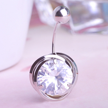 Sapphire White Gold Zircon Blue Belly Button Rings Body Piercing Navel Sexy Jewellery Women Bijou Pircing