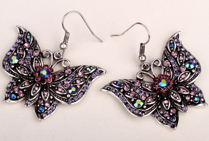Butterfly dangle long earrings for women crystal rhinestone summer cute fashion jewelry wholesale 2015 EA10(China (Mainland))