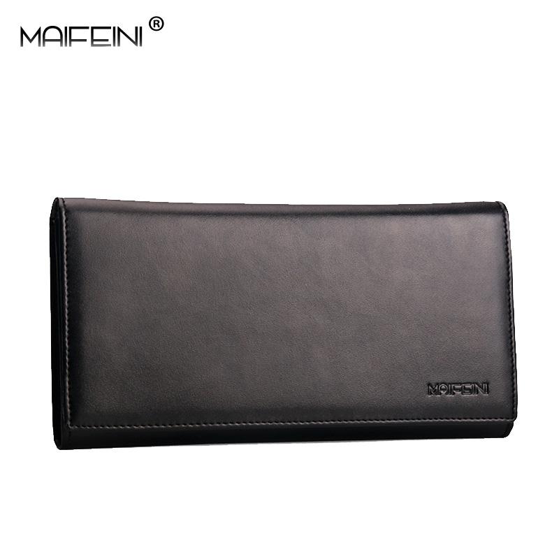 MAIFEINI Luxury brand Genuine Leather New business mens long organizer wallet Fashion Three fold Multi-card bit wallets(China (Mainland))