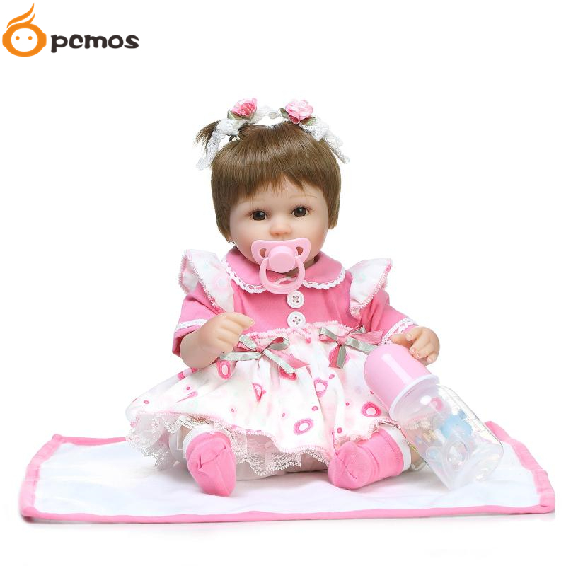 "[PCMOS] 42cm/16.5"" Lifelike Blond Short Hair Brown Eyes Reborn Dolls Soft Touch Vinyl Handmade Baby Toys Christmas Gift 16082705(China (Mainland))"