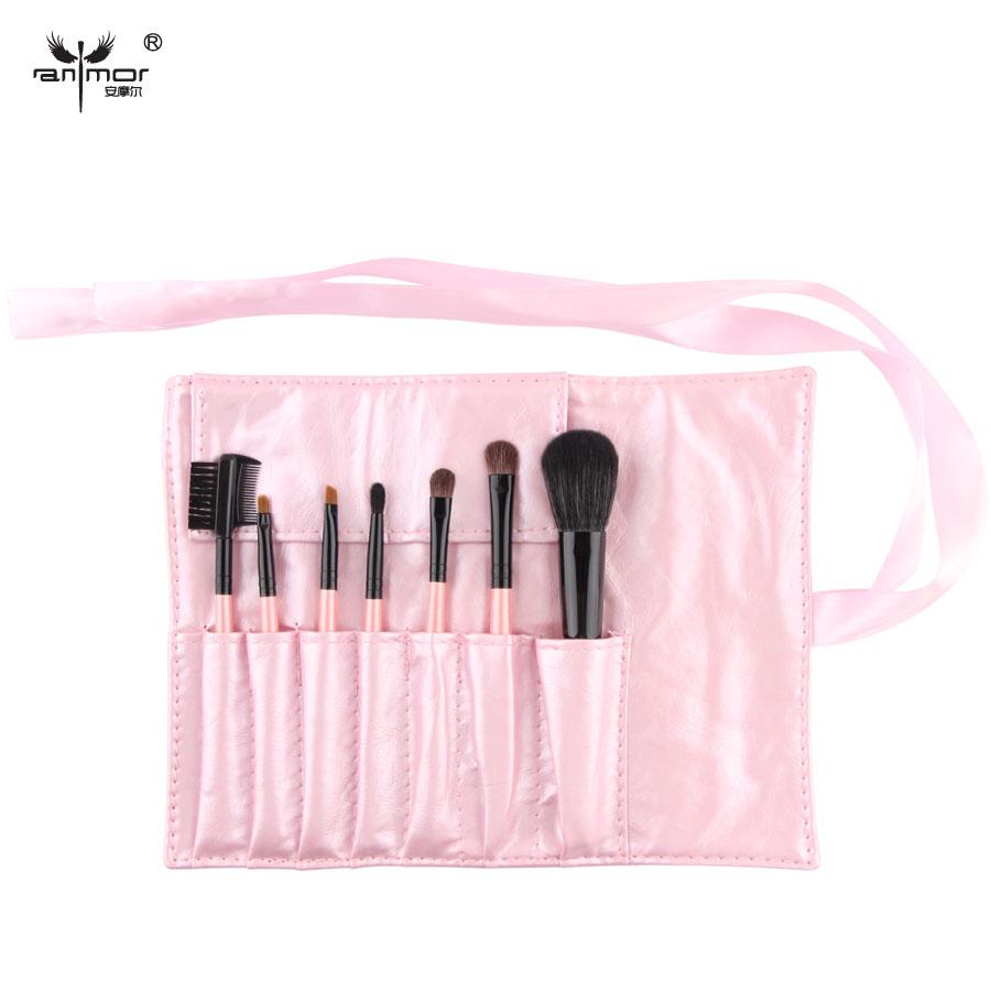 Pink Color Fashion Professional 7 pcs Makeup Brush Set tools HOT Make-up Toiletry Kit Portable Make Up Brush Set Case(China (Mainland))