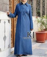 Turkish clothing maxi evening muslim women dress, Denim arabic kaftan long robe islam moslim dress WAB30015(China)