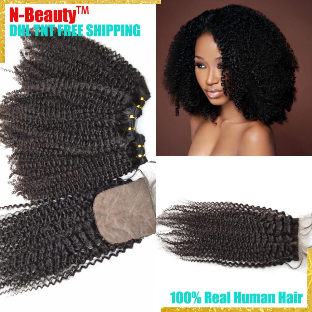 Grade 8A Peruvian Hair Weavings With Closure 3Bundles With Closure Human Hair Weaves With Closure Kinky Kurly With Silk Closure<br><br>Aliexpress