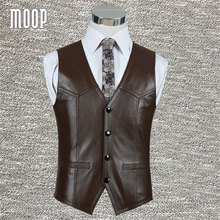 Black brown genuine leather vest 100%lambskin leather jacket men waistcoat business coat chaleco hombre colete LT602 Free ship(China (Mainland))