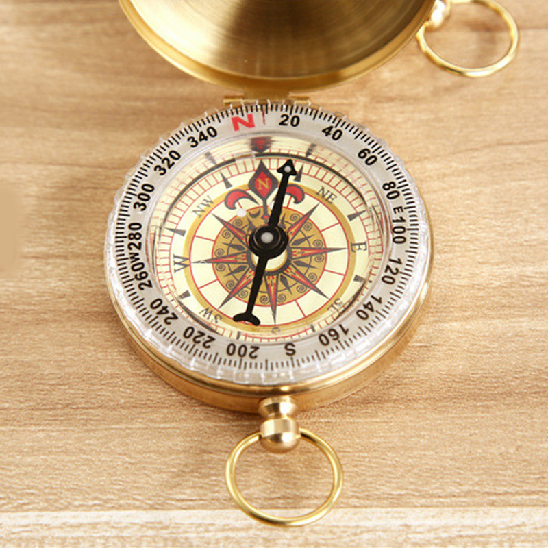 Outsp High Quality Copper Compass Flip Pocket Watch Style Waterproof Reflective Camping Brass Compass Outdoor Hiking Accessories(China (Mainland))