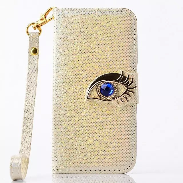 Luxury Fashion Blue Eagle Eye Shining Leather Wallet Case and TPU Back inside Cover Stand Case For iPhone 5 5S()