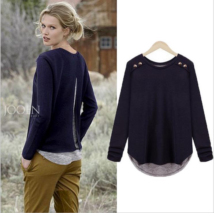 Hot fashion women sweater round neck long sleeve pullover knitwear loose asymmetrical hem M-4XL(China (Mainland))